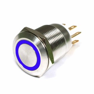 Pulsante Antivandalo INOX 19mm Illuminato con Led Blu
