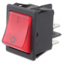 Rocker Switch Bipolare Luminoso Rosso 16A 250V