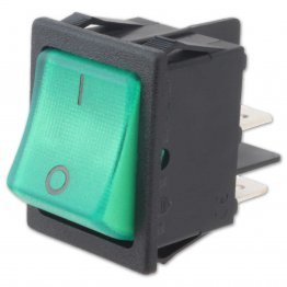 Rocker Switch Bipolare Luminoso Verde 16A 250V