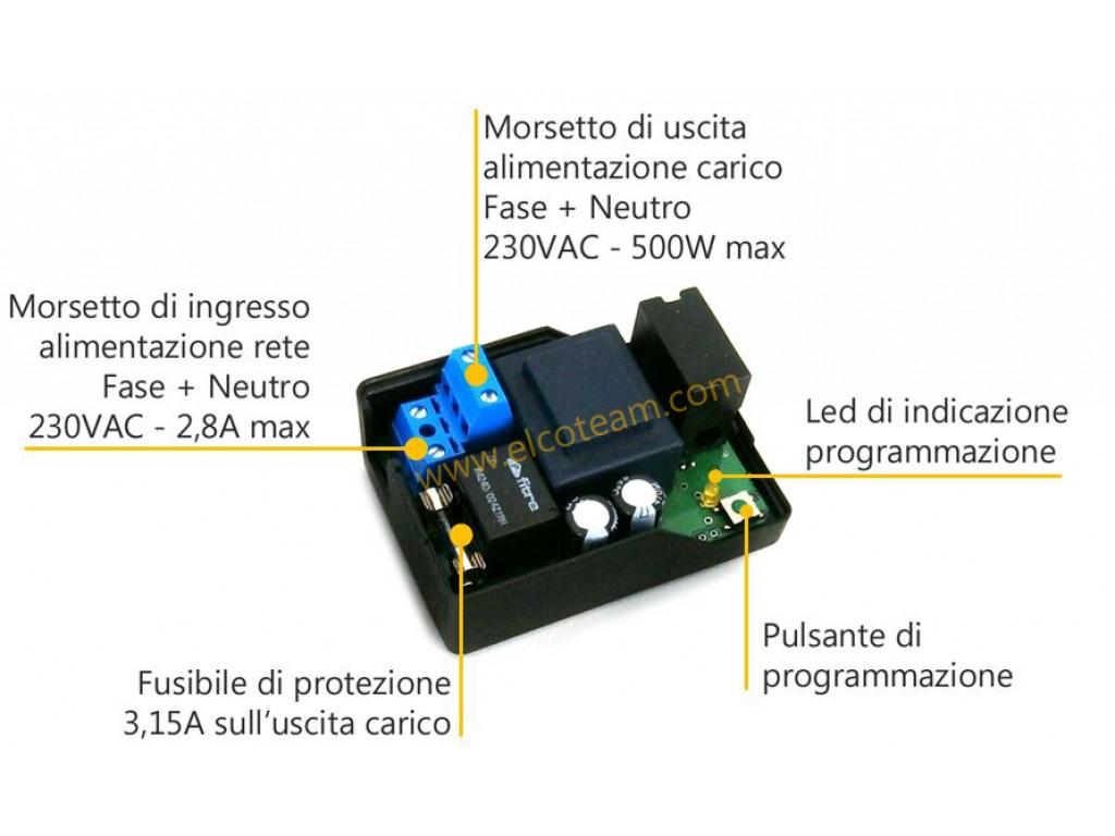 Schema Elettrico Zbx74 78 : Ricevente attuatore radio freelux flx v per carichi