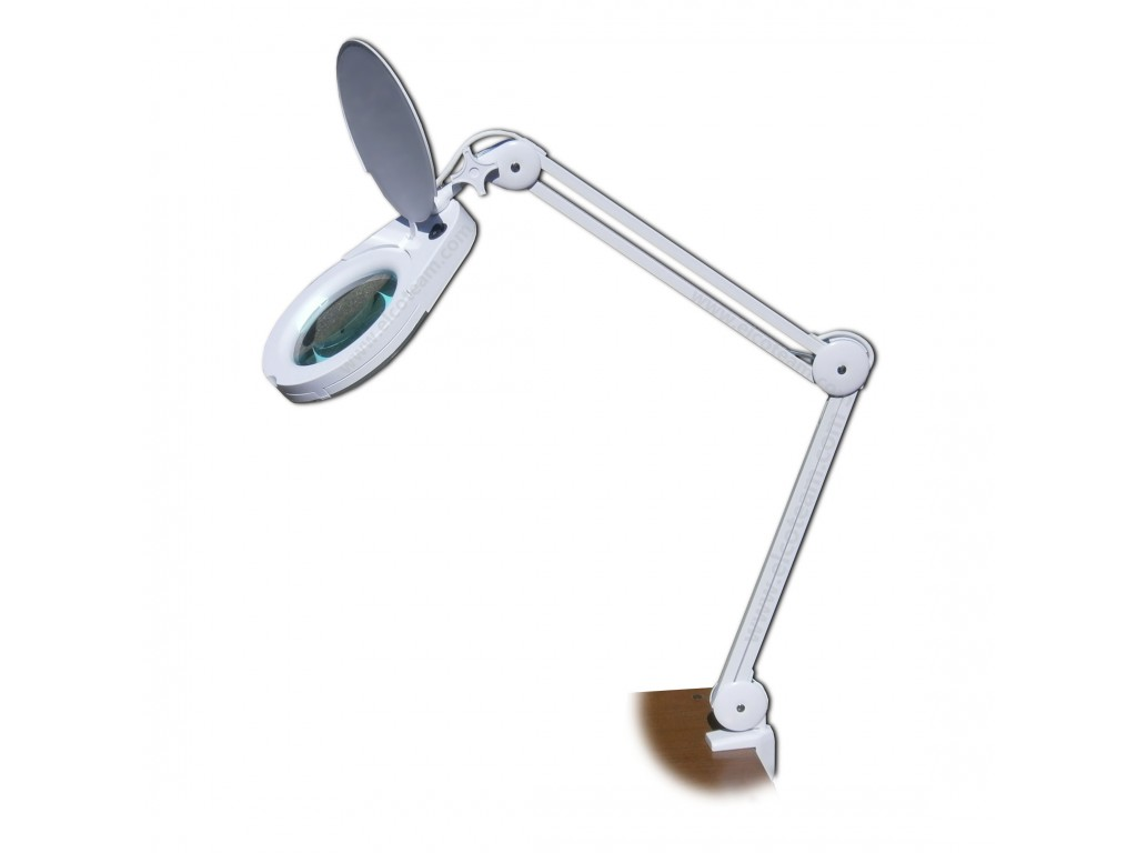 Lampada a led con lente diottrie e braccio a pantografo