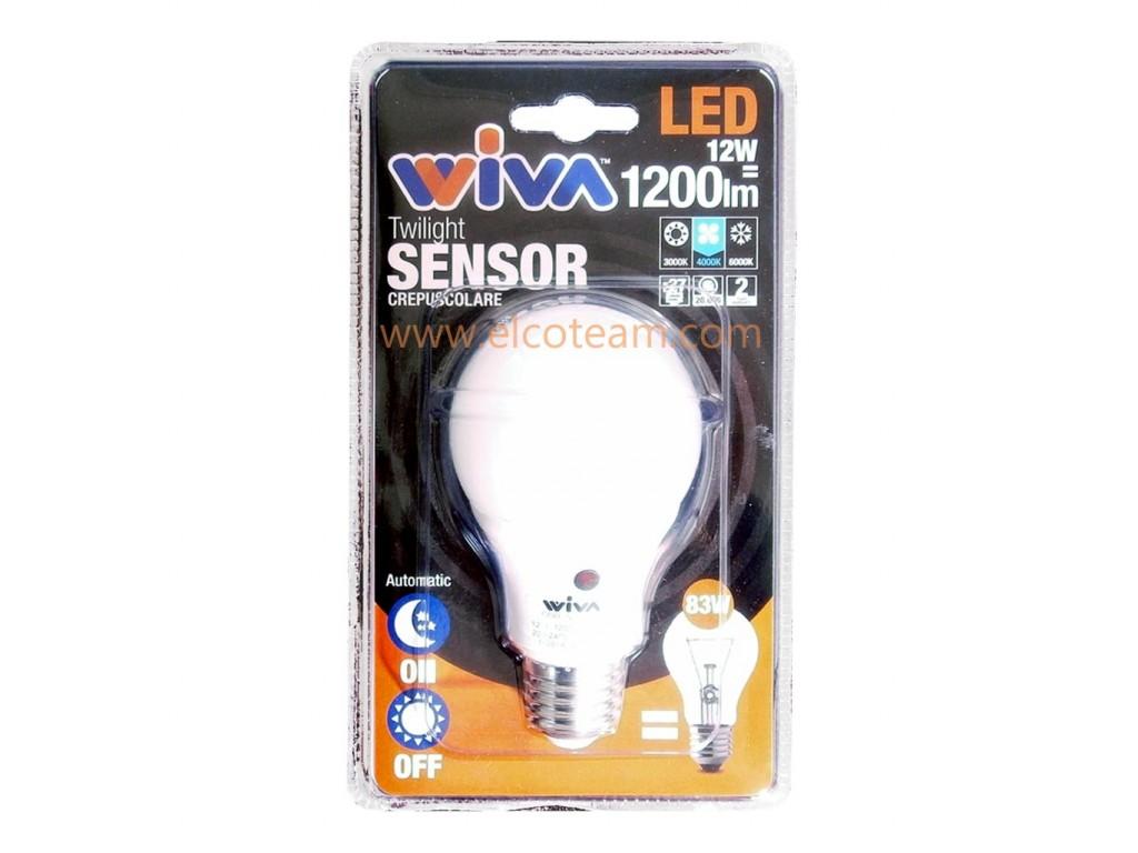 Plafoniere Con Sensore Crepuscolare : Lampada led 12w attacco e27 4000°k con sensore crepuscolare