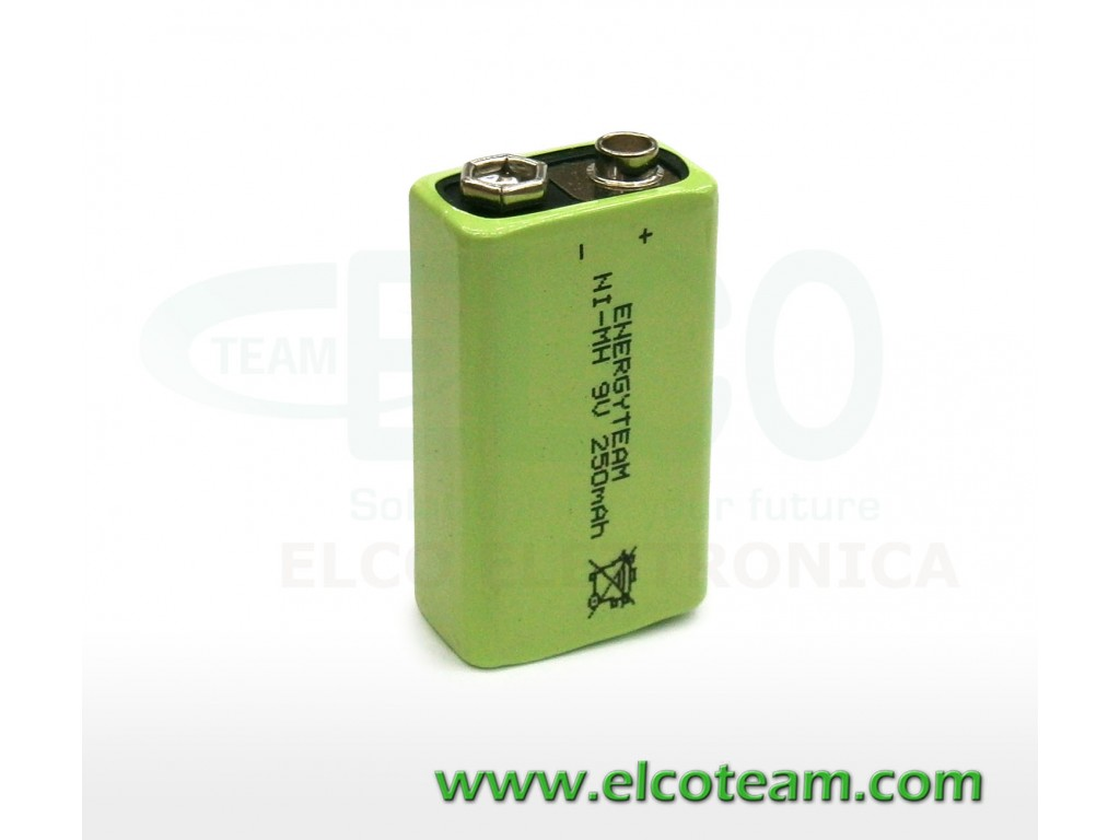 Batteria pila 9v ricaricabile 8 4v 250mah energyteam for Porta batteria 9v