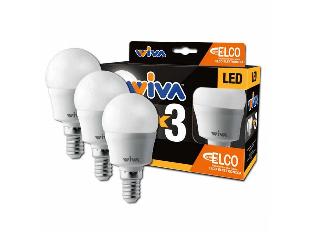 Promo pack 3 lampade led sfera 7w attacco e14 3000k wiva 12101001