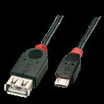 Cavo USB 2.0 OTG da Micro-B Maschio a Tipo A Femmina, 0,5m
