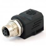Adattatore Presa RJ45 - Presa M12 4 Pin Ethernet Amphenol RJS-12D04FF-LS8001