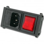 Bulgin BZ01011 Modulo Polysnap con Spina VDE IEC C14, Portafusibile e Interruttore Luminoso Rosso