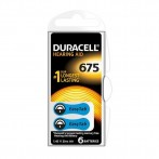 Batteria Duracell DA675 per apparecchi acustici, Blister 6 pezzi