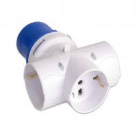 Adattatore da Spina Industriale 16A 6H a 3 Prese universali Schuko + bipasso EN 60309