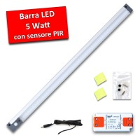 Barra Luminosa a LED con interruttore PIR completa di alimentatore