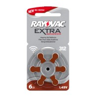 Batteria Rayovac DA312 per apparecchi acustici, Blister 6 pezzi