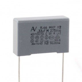 Condensatore Polipropilene X2 330nF 275VAC passo 22,5mm terminali lunghi Arcotronics R46KN33305001M
