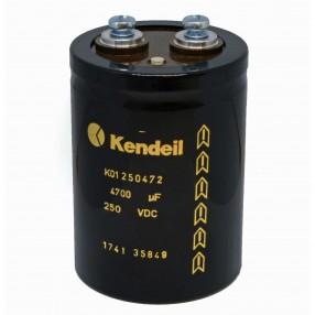 Condensatore Elettrolitico Kendeil K01 4700µF 250VDC con Terminali a Vite M6 K01250472