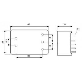 Actronic AR02.6.5A Filtro EMI da PCB - Dimensioni