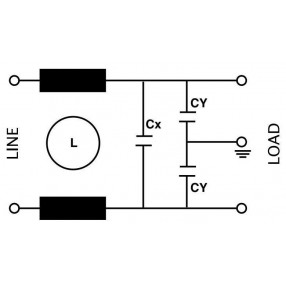 Actronic AR05.6.5A Filtro EMI con terminali a faston da 6,5 Ampere - Circuito