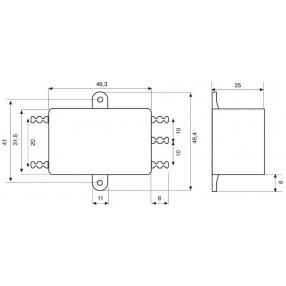Actronic AR05.6.5A Filtro EMI con terminali a faston da 6,5 Ampere - Dimensioni