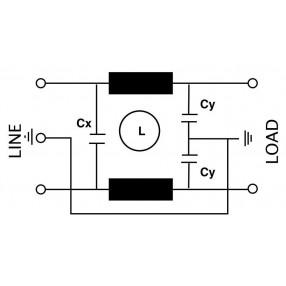 Actronic AR07.6A Filtro EMI con Spina IEC da 6 Ampere - Schema Circuito