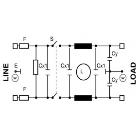 Actronic AR13.6A Filtro EMI con Spina IEC, Interruttore e Portafusibile da 6 Ampere - Circuito