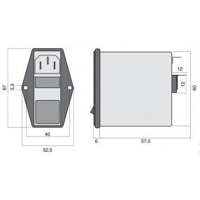 Actronic AR13.6A Filtro EMI con Spina IEC, Interruttore e Portafusibile da 6 Ampere - Dimensioni