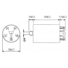 DEM FLC630501F Filtro Antidisturbo Induttivo Capacitivo - Dimensioni