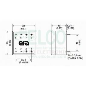 Trasformatore Incapsulato 230V - 6V - 0,5VA ERA BV020-5832.0 M - Dimensioni