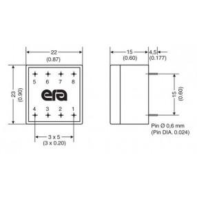 Trasformatore Incapsulato Era EE20 0,144VA - 230V - 12V - Dimensioni