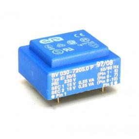 Trasformatore Incapsulato Era EI30/5 0,5VA - 230V - 2x15V