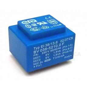 ERA BV038-5210.0 Trasformatore Incapsulato Piatto 230V - 2 x6V - 3,2VA