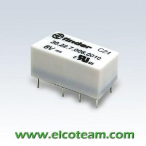 Finder 30227006 Mini Relè Dual in Line Bobina Sensibile 6 VDC