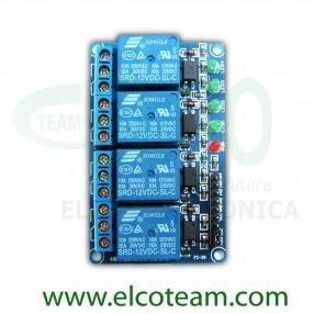 Shield per Arduino con 4 Relè elettromeccanici bobina 12V