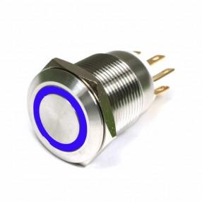 Pulsante Antivandalo19mm Illuminato con Led Blu (led acceso)