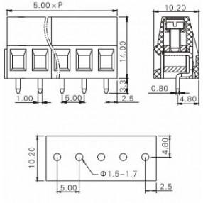 Morsetti Tianli Serie TL206V - Dimensioni