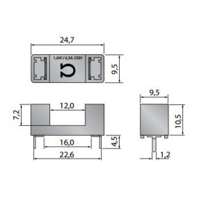 Omega Fusibili C1019 Portafusibile 5x20 6,3A 250V
