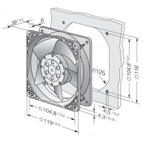 EBM PAPST 4650N Ventilatore 120X120x38 230VAC - Dimensioni