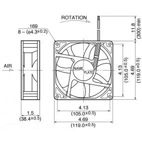 NMB 4715KL-07W-B30 Ventilatore 119X119x38 48VDC su Cuscinetto a Sfera - Dimensioni