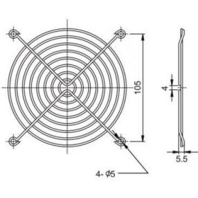 Sunon FG-12 Griglia Metallica per Ventilatore 120x120 mm - Dimensione