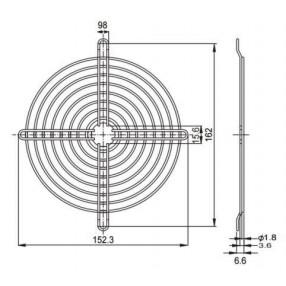 Sunon FG-17A Griglia Metallica per Ventilatore 172x150 mm - Dimensioni