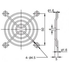 Sunon FG-06 Griglia Metallica per Ventilatore 60x60 mm - Dimensioni