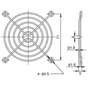 Sunon FG-08 Griglia Metallica per Ventilatore 80x80 mm - Dimensioni