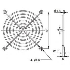 Sunon FG-09 Griglia Metallica per Ventilatore 92x92 mm - Dimensioni