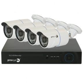 Proeye 483108 Kit Videosorveglianza PLC NVR + 4 Telecamere HD