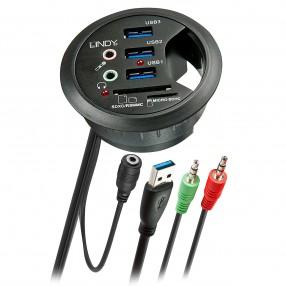 Lindy 43161 Adattatore da Scrivania con Hub USB 3.0 e Card Reader