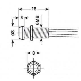 Spia Luminosa con involucro in metallo diametro 8mm