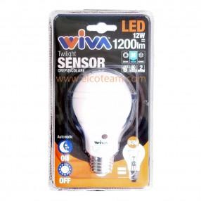 Lampada Led 12W attacco E27 4000°K con sensore crepuscolare