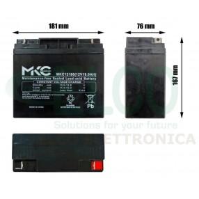 Batteria Ermetica Ricaricabile al Piombo 12V 18Ah MKC - Dimensioni