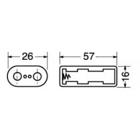 Portabatteria per 2 stilo AA con fil