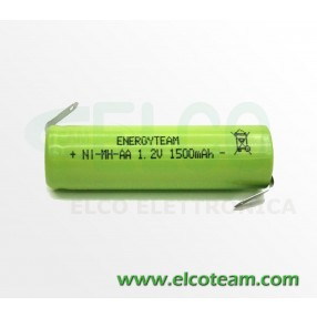 Batteria stilo AA 1,5Ah Ni-Mh Energyteam lamelle a saldare