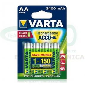Batteria Ricaricabile VARTA stilo AA 2400mAh - Confezione 4 pezzi