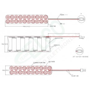 Pacco Batteria NiMH 24V 1300mA (20xAA) - Dimensioni