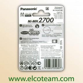 Batteria Ricaricabile Panasonic stilo AA 2700mAh - Confezione 4 pezzi